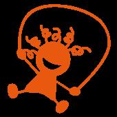 Dessin d'enfant avec corde à sauter couleur orange